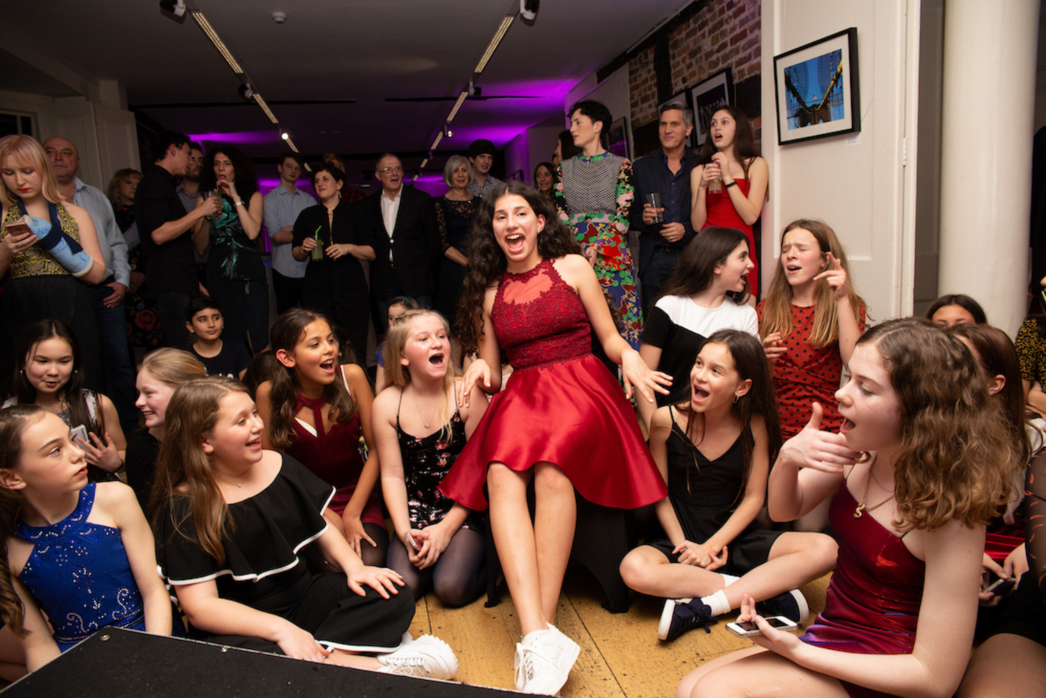 girls at bat mitzvah party